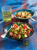 Avocado salad with watermelon, chilli and garlic croutons (vegetarian)