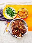 Lamb chops with kumara mash and beans
