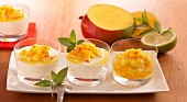 Quark mousse with a chilli and mango salsa
