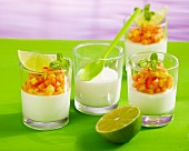 Quark mousse with a chilli and papaya salsa