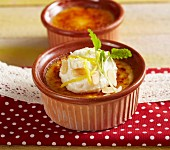 Crema catalana with almond cream (Spain)