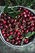 Cherries in metal container