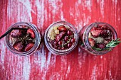 Spiced berries in glasses