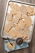 Crackers with sesame seeds and poppy seeds