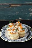Vol-au-vents with a creamy mushroom sauce, shrimps, caviar and dill