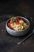 Scrambled egg with quinoa and tomatoes