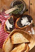 Tapenade with shaved cheese