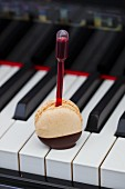 A macaroon on a stick on the keys of a piano