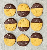 Pistachio biscuits with dark chocolate glaze and sea salt