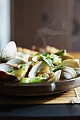 Steamed clams with herbs