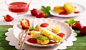 Kroketi sas Sirene (Quarkplätzchen mit Erdbeersauce, Bulgarien)
