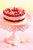 A mini raspberry cake on a pink cake stand