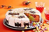 A Halloween cake, sliced