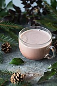 Hot cocoa in a glass cup