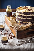 Beetroot chocolate cake with hazelnuts, syrup and coffee