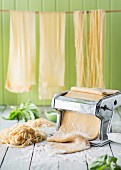 Fresh homemade pasta and pasta machine