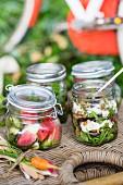 Verschiedene Salate in Einmachgläsern zum Picknick