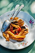 Penne with aubergines and tomatoes