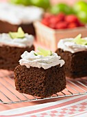 Chocolate lime cake with coconut cream