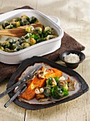 Gratinated Brussels sprouts with salmon and mushrooms