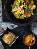 Vegetable curry with broccoli and Romanesco
