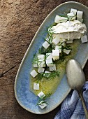 Kohlrabi salad with a lemon sauce, dill and cream cheese