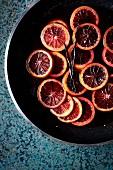 Caramelised blood orange slices