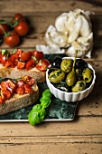 Bruschetta (grilled bread with garlic, tomatoes and basil, Italy)