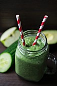 A green smoothie made from cucumber, apple and avocado