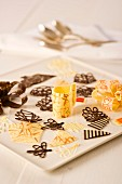 Chocolate decorations for cakes and pastries