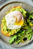 Avocado and a poached egg on toast