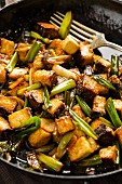 Fried tofu with spring onions