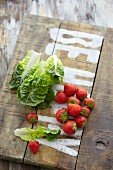 Cos lettuce and strawberries