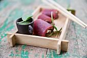 Thunfischröllchen mit Wasabi
