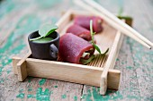 Tuna fish rolls with wasabi
