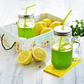 Lemonade made with fresh lemons and herbs
