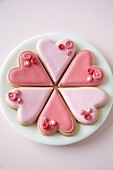Pink heart-shaped biscuits for Valentine's Day