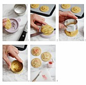 Flower biscuits being made