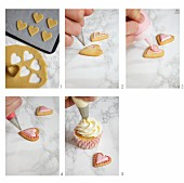 Swirl cupcakes decorated with heart biscuits being made