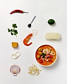 Laksa (seafood and noodle soup, South East Asia), surrounded by ingredients