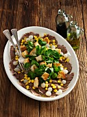 Beef salad with pearl onions, sweetcorn, lamb's lettuce and croutons