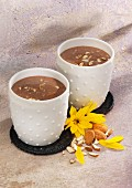 Banana and chocolate smoothies with silken tofu and almond milk