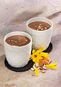 Banana and chocolate smoothies with silken tofu and almond milk