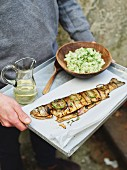 Grilled trout with cucumber tatar