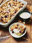 Kirschenmichel (cherry bread pudding) with vanilla sauce