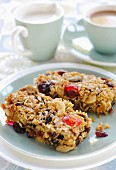 Flapjacks with glace cherries, raisins and nuts