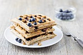 Coconut flour waffles and coconut milk with blueberries (low carb)
