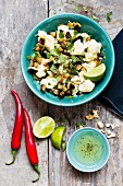 Cauliflower salad with aubergines and coriander