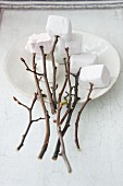 Marshmallows auf Holzstöckchen