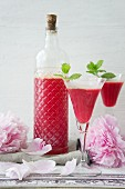 Home-made raspberry liqueur with spring roses